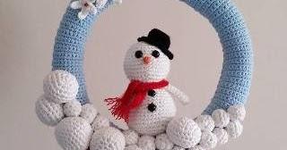 Corona de Nadal de ganxet. #Ganchillo #Crochet #Navidad Muñeco de ... | 168x320