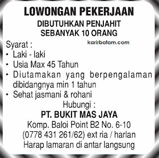 Lowongan Kerja PT. Bukit Mas Jaya