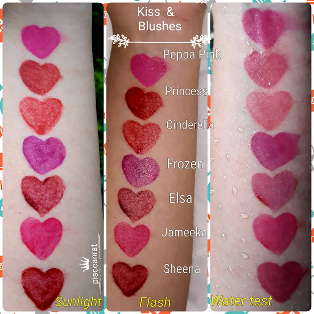 ThaiWhite Skincare Organics Kiss & Blushes are available in 7 shades- in the photo below, top to bottom, Peppa Pink, Princess, Cinderella, Frozen, Elsa, Jameeka, Sheena.