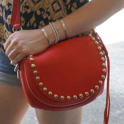 ebecca Minkoff unlined saddle bag in cherry red | AwayFromTheBlue