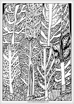 the forest coloring pages for adults by jean dubufet