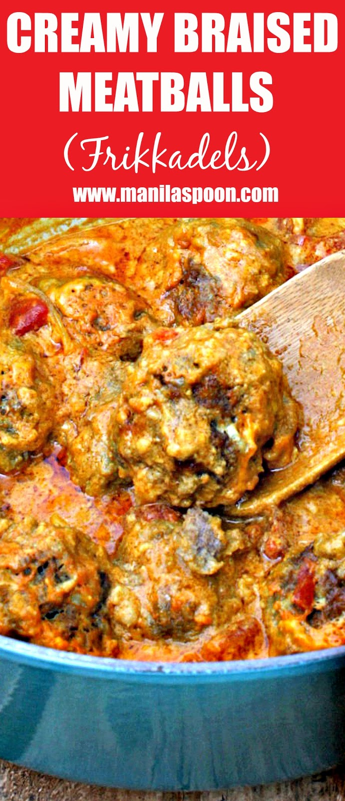 Spiced with cinnamon and coriander and then slowly simmered in a creamy tomato curry sauce make this dish so flavorful and delicious! Giant Meatballs - Frikadelles - South African Braised Meatballs - this is absolutely yummy! #frikadelles #braised #meatballs #southafrica #frikkadels