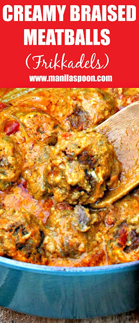Deliciously creamy and perfectly spiced braised meatballs. This South African dish (Frikkadels) is a family favorite!   manilaspoon.com