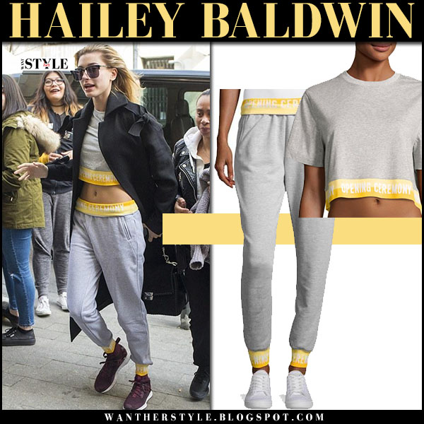 Hailey Baldwin in cropped grey tee and grey sweatpants opening ceremony model street style