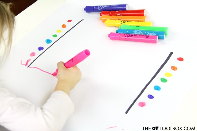 Use this rainbow visual motor activity to work on handwriting skills.