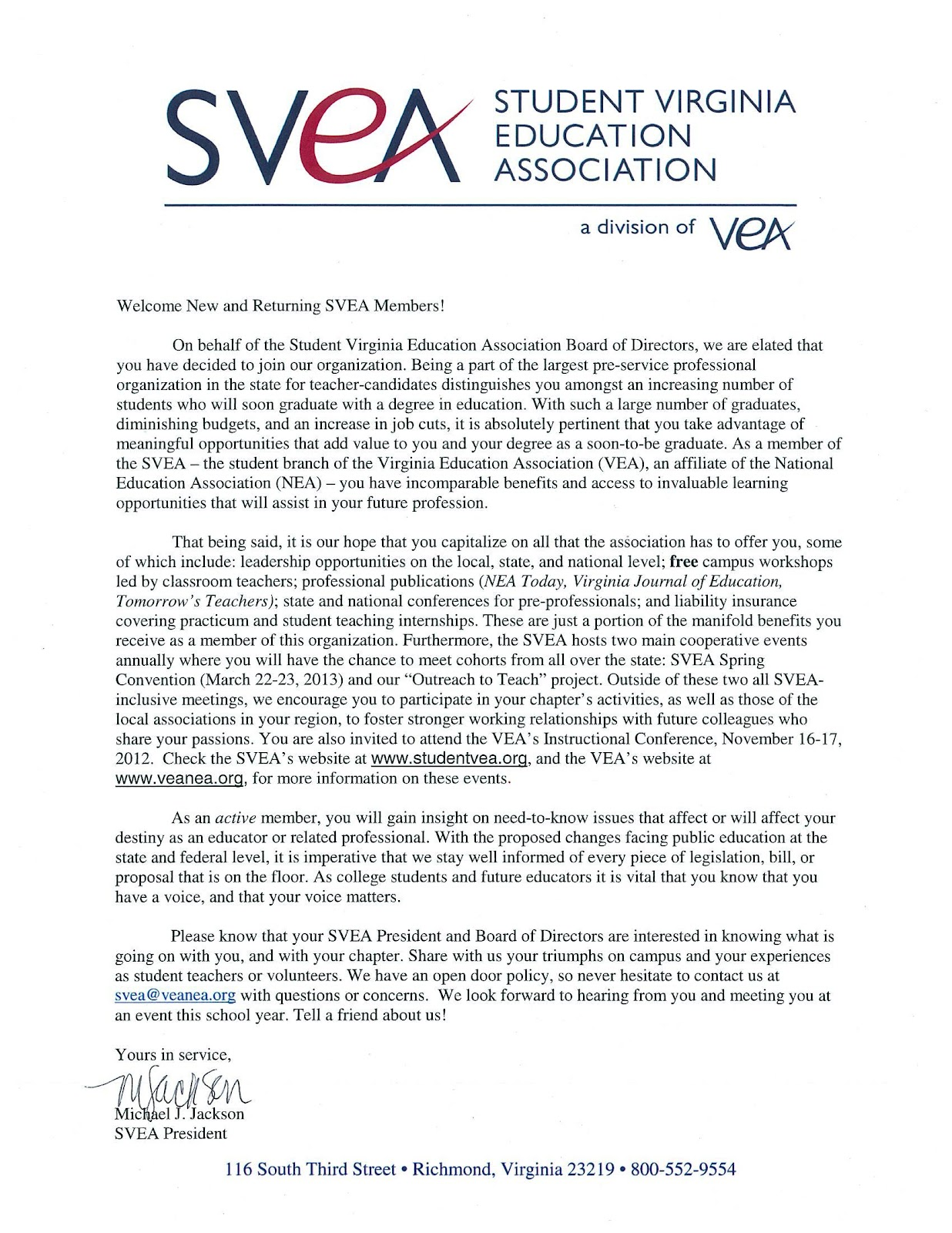 Student Virginia Education Association  Welcome Letter