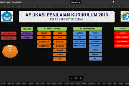 Aplikasi Pengelolaan Nilai Kurikulum 2013 Kelas 1 SD Format Excel Otomatis