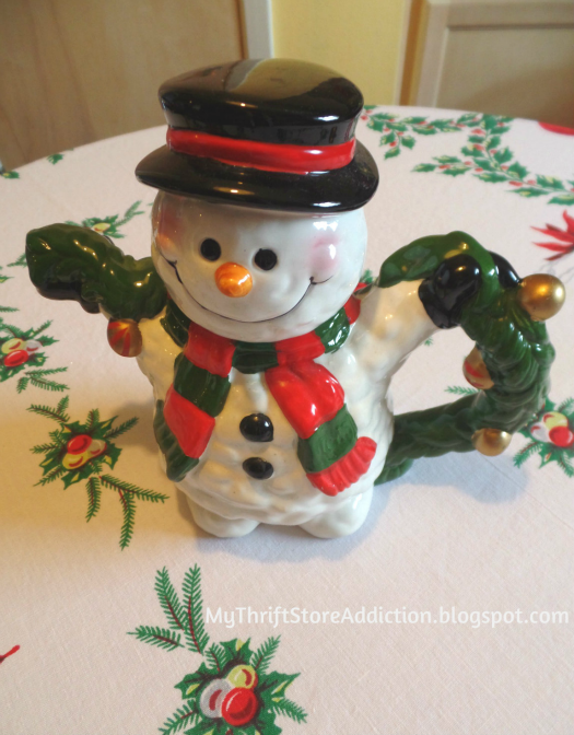 Friday's Find: A Snowman Tea for Two mythriftstoreaddiction.blogspot.com A snowman tea party tablescape created with thrift store finds like this whimsical teapot