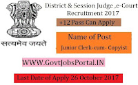 E-Courts District Judge Recruitment 2017– 17 Junior Clerk/ Copyist
