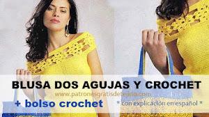 Blusa que combina dos agujas, crochet y glamour / Con explicación en español