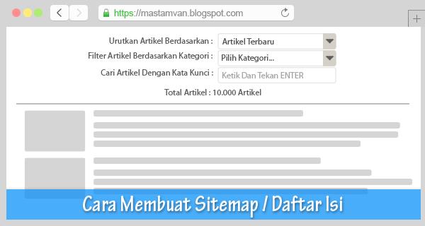 membuat daftar isi atau sitemap di blogger