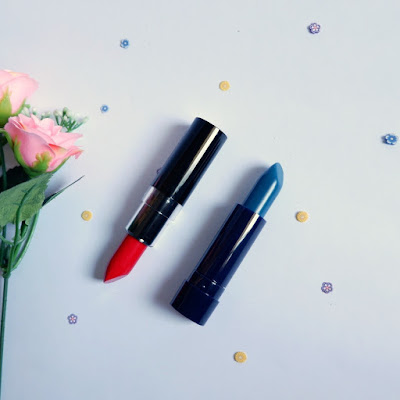 Moodmatcher 12 hours color changing lipstick by Fran Wilson - dark blue and red review