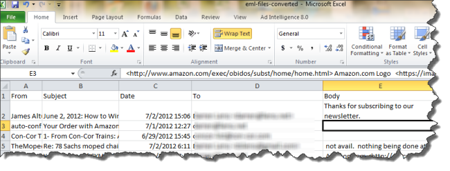Converting  eml files to Excel spreadsheet     Eml Viewer