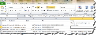 Email was exported to .csv and imported to MS Excel using PstViewer Pro.
