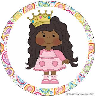 Princesa Afro: Wrappers y Toppers para Cupcakes para Imprimir Gratis.