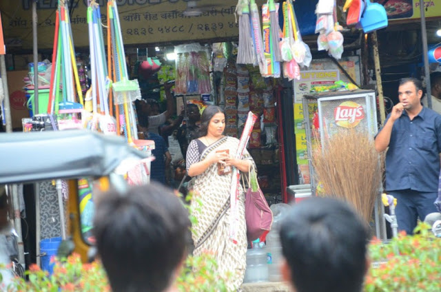 Vidya Balan Spotted Shooting for Her Upcoming Movie in Mumbai