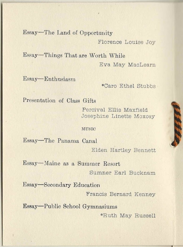 1915 graduation program of yarmouth high school at yarmouth maine essay things that are worth while eva maclearn essay enthusiasm caro ethel stubbs presentation of class gifts percival ellis maxfield