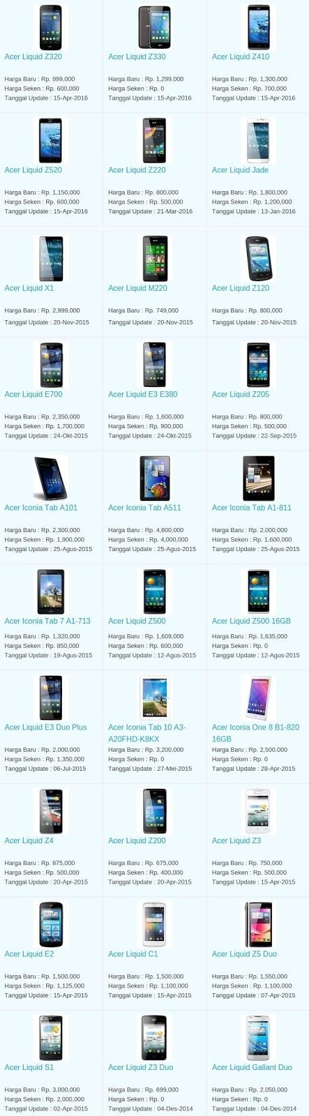 Daftar Harga Hp Terbaru Acer Mei 2016