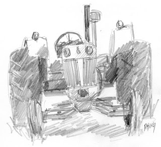 art sketch pencil graphie tractor Case vintage