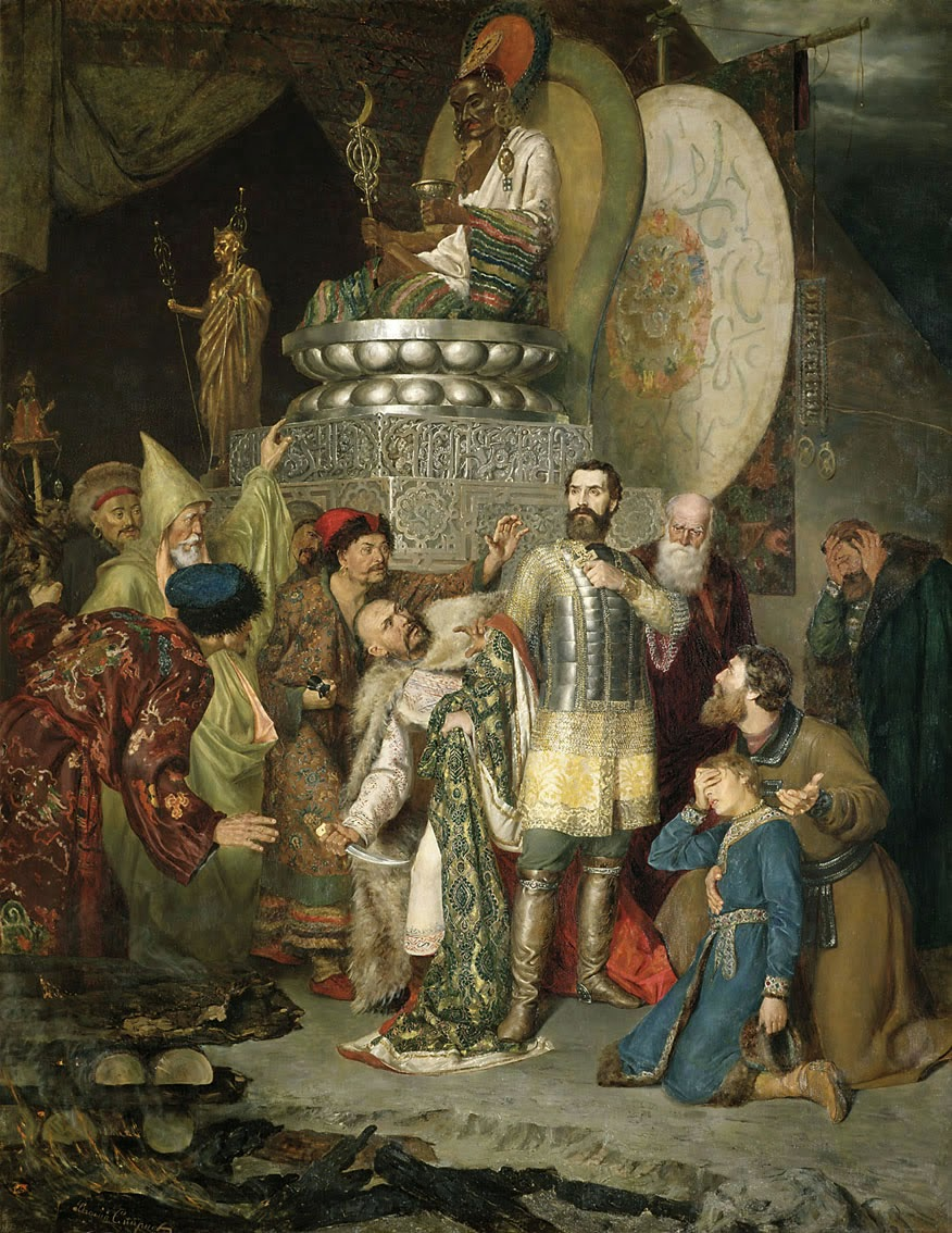 Batu Khan stabbed Prince Michael of Chernigov to death for his refusal to do obeisance to Genghis Khan's shrine in the pagan ritual.