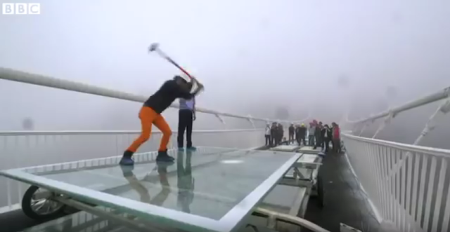 Chinese Hit Glass Bridge With Sledge Hammer