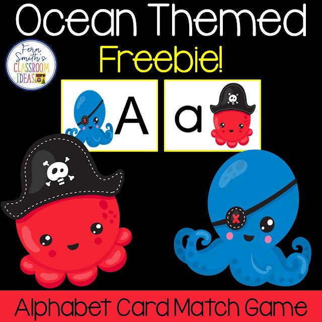 Alphabet Matching Ocean Themed Center Game Freebie