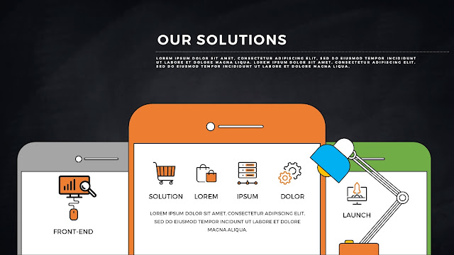 SmartPhone APP UI Solution Presentation PowerPoint Template with Dark Background