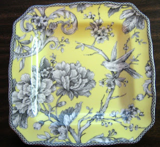 Decorative Wall Plate Black And Yellow Toile
