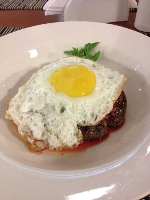 Homemade Thick Hamburger Patty Topped with a Fried Egg