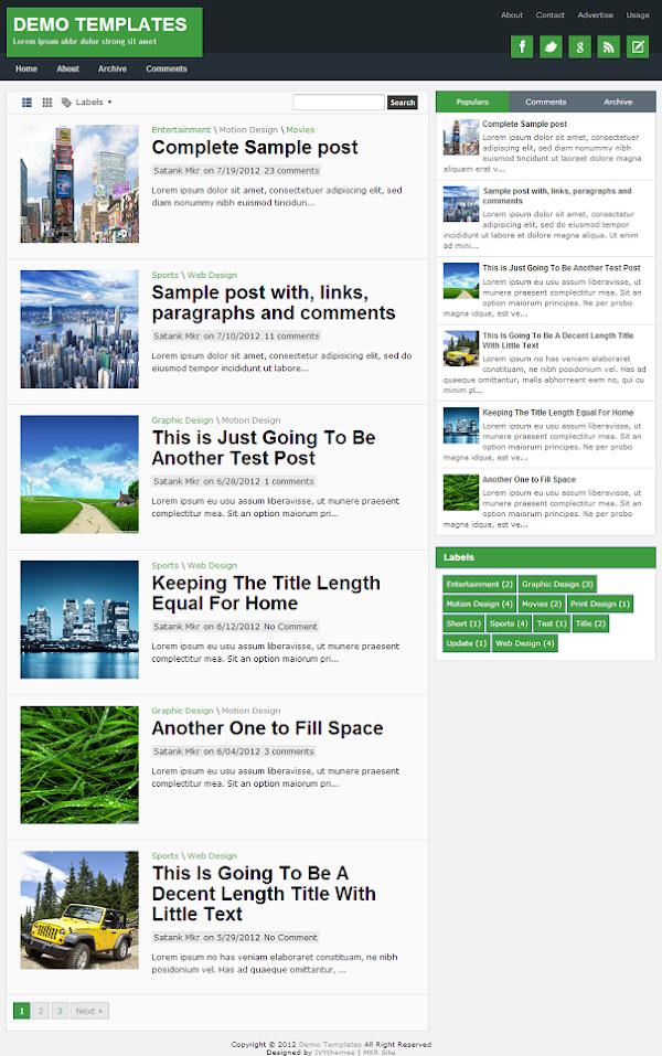 TheTuts Green Blogger Template