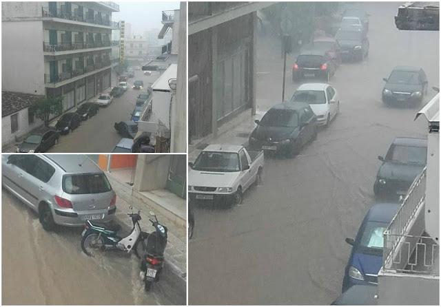 Σε ποτάμια μετατράπηκαν οι δρόμοι της Ηγουμενίτσας μετά από 30 λεπτά βροχής