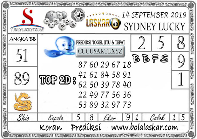Prediksi Sydney Lucky Today LASKAR4D 14 SEPTEMBER 2019