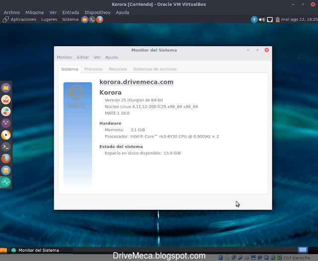 Korora MATE Linux ya actualizado