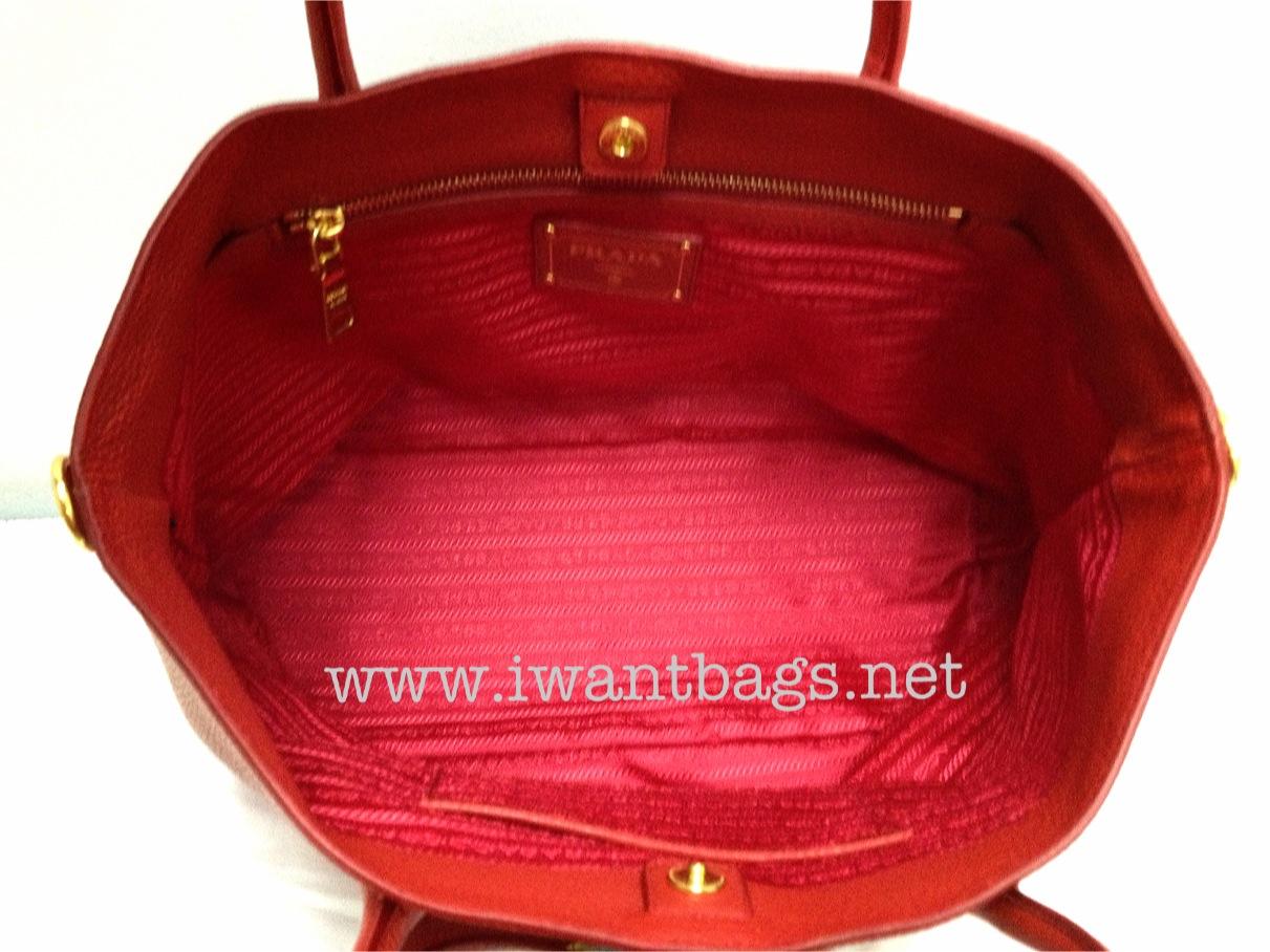 dc40f2b69cf0 Prada Vitello Daino Leather Tote BN2317 - Rosso Red