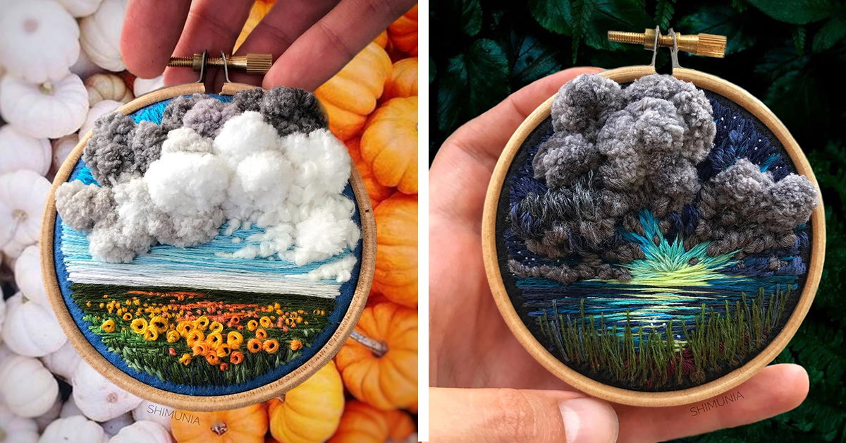 Russian Artist Creates Breathtaking Embroidered Landscapes With 3D Textile Clouds