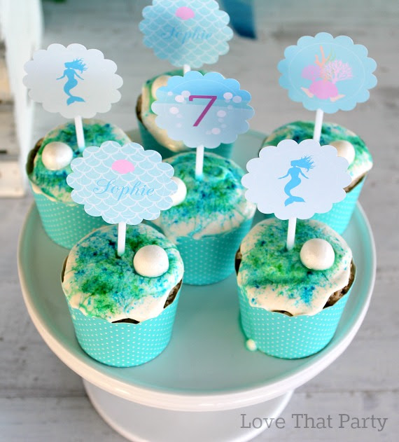image of mermaid birthday cupcakes with mermaid cupcake toppers