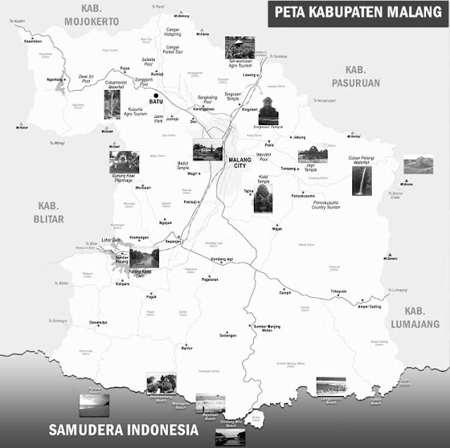 Gambar Peta Kabupaten Malang Hitam Putih