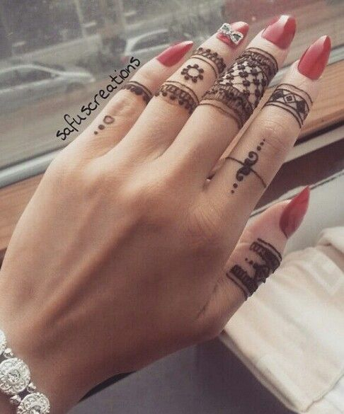 Round Ring Mehndi Designs For Fingers