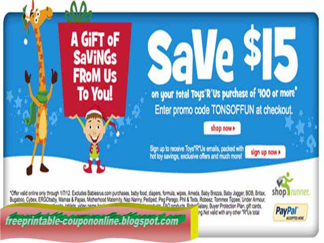 graphic relating to Printable Toysrus Coupon named Printable Coupon codes 2019: Toys R Us Coupon codes