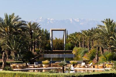 Марракеш, Марокко. Marrakech, Morocco, бассейн, горы, пальмы