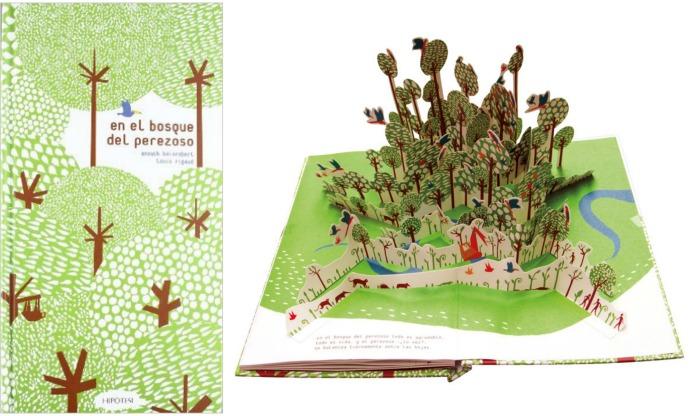cuento infantil en el bosque del perezoso, primavera. Portada e interior