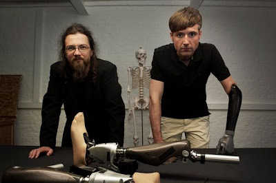 Roboticist Richard Walker and Dr. Bertolt Meyer, with some of the bionic man's parts