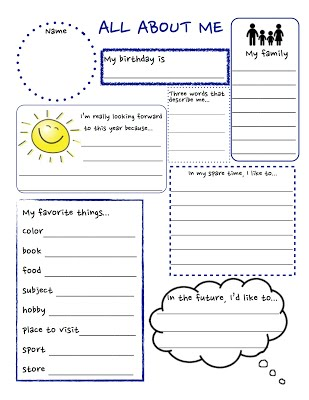 Mrs. Collier\u0027s Classroom has a fun free All About Me worksheet. These are fun to do at the start and end of each year to see how your child has changed and ...