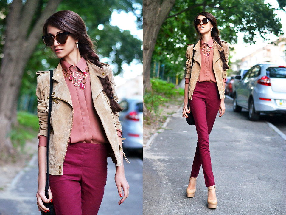 Maroon Pants With White Shoes