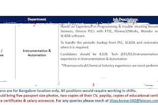 Walk in interview@ Biocon laboratories on 20 January for multiple positions