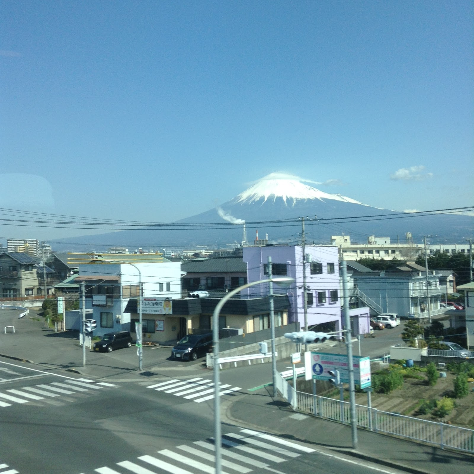 Mount Fuji as seen from the Shinkansen window