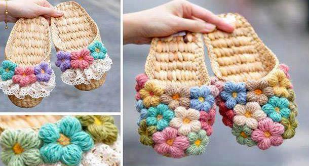 Patrón #1726: Zapatos con Flores Puff a Crochet