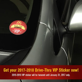 McDonalds DriveThru VIP Sticker, McDo VIP stickers 2017
