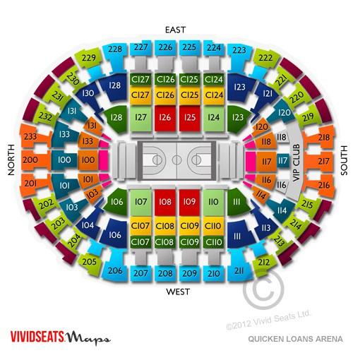 Cleveland Cavaliers Seating Chart & Interactive Map SeatGeek - quicken loans seating chart