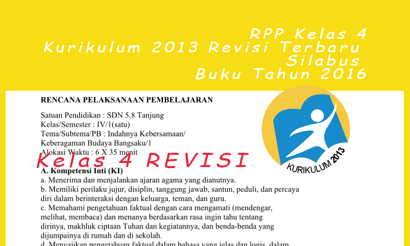RPP Kelas 4 Kurikulum 2013 Revisi